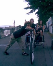 Derrek Wayne, Amber Case and Sarah O'Brien, Pedicabbed On Waterfront